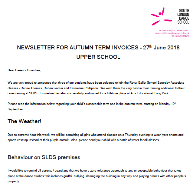 South London Dance School Newsletters