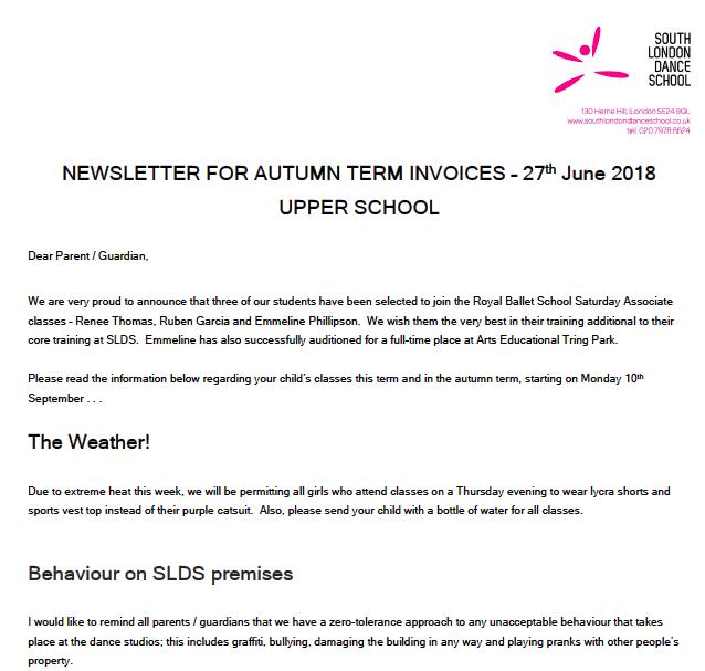 South London Dance School Newsletters